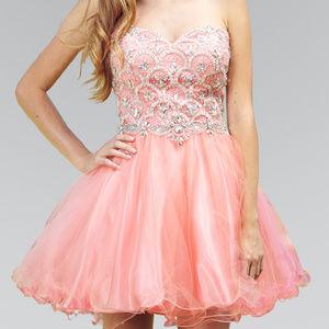 Coral Straplesss Cocktail Short Dress